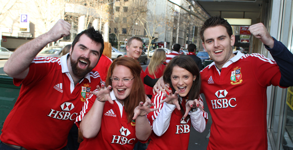 Fiachra Moloney, Bella Moloney, Anna O'Sullivan, and Niall Boland show their support for the Lions. (Pic : Darryl Kennedy/Irish Echo)