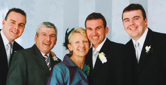 Dermot O'Toole with wife Bridget and their three sons, Christian, Dale and Trent.