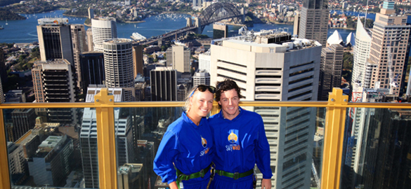 Skywalk at Sydney Tower with Caroline & Rory