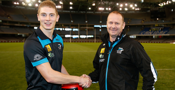 Daniel Flynn with port Adelaide coach, Ken Hinkley