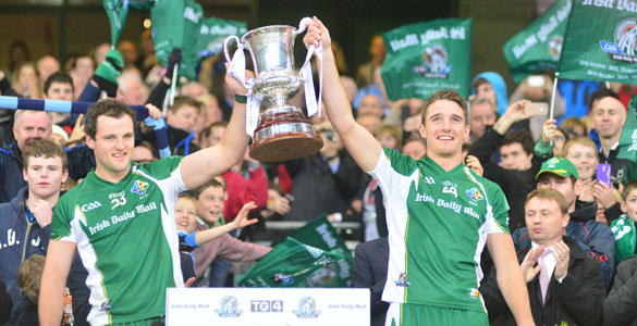 Captain Michael Murphy (left) and vice-captain Aidan Walsh lift the Cormac McAnallen Cup after Ireland's record International Rules over Australia at Croke Park last night. Pic: Adrian Melia