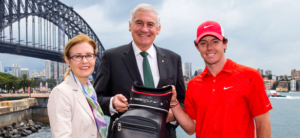 Rory McIlroy is welcomed to Sydney by NSW Minister for Sports Gabrielle Upton and The Minister for Tourism and Major Events, George Souris. Pic: Supplied