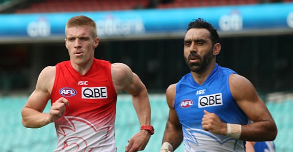 Tommy Walsh with team-mate and Australian Of The Year Adam Goodes at training.