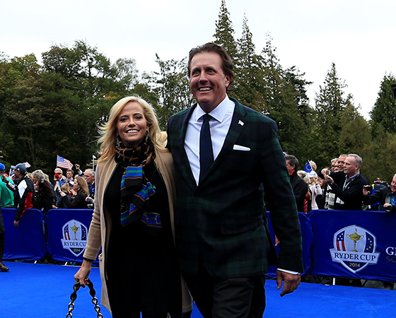 Phil Mickelson and wife Amy at the Ryder Cup opening ceremony