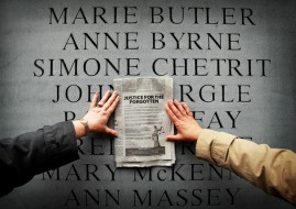 Relatives of the Dublin Monaghan Bombings  touch the memorial on Talbot St in Dublin in response to the royal visit by Britain's Queen Elizabeth II today. PRESS ASSOCIATION Photo. Picture date: Tuesday May 17, 2011. See PA story IRISH Queen. Photo: Julien Behal/PA Wire