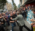 Anti-Islam and anti-racism protestors clash at a Reclaim Australia demonstration.