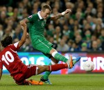 Republic of Ireland's Glenn Whelan and Georgia's Tornike Okriashvili battle for the ball during the UEFA European Championship Qualifying match at Aviva Stadium, Dublin. . Pic: Brian Lawless/PA