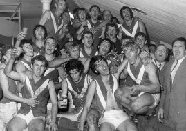 Central Districts team after the 1971 semi final win - Robin Mulholland top centre