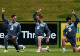 Republic of Ireland players (from left to right) Kevin Doyle, Alex Pearce, and Shane Long during a training session at Gannon Park, Dublin.