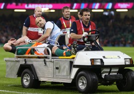 ireland's Paul O'Connell is stretchered off after receiving a serious leg injury during the Rugby World Cup match at Millennium Stadium, Cardiff. PRESS ASSOCIATION Photo. Picture date: Sunday October 11, 2015. See PA story RUGBYU France. Photo credit should read: David Davies/PA Wire. RESTRICTIONS: Editorial use only. Strictly no commercial use or association without RWCL permission. Still image use only. Use implies acceptance of Section 6 of RWC 2015 T&Cs at: http://bit.ly/1MPElTL Call +44 (0)1158 447447 for further info.