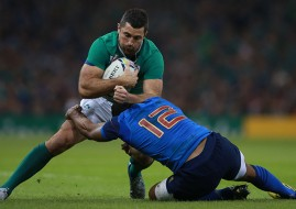 Ireland's Rob Kearney in action against France during the World Cup Pool D encounter in Cardiff.