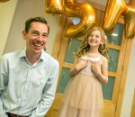 RTE's Ryan Tubridy with Cora Harkin (9) from Butlers Wharf, Co Derry, who was auditioning for The Late Late Toy Show.