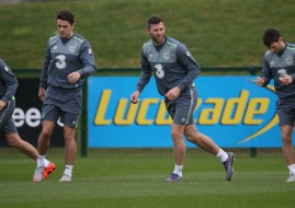 Republic of Ireland's Robbie Keane, Robbie Brady, Daryl Murphy and Wes Hoolahan during a training session. Pic: Niall Carson/PA Wire