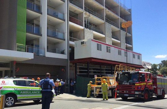 The workplace scene in Perth where two irish workers died after getting pinned underneath a concrete slab.