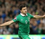 Republic of Ireland's Shane Long celebrates scoring their first goal of the game during the UEFA European Championship Qualifying match at the Aviva Stadium, Dublin. PRESS ASSOCIATION Photo. Picture date: Thursday October 8, 2015. See PA story SOCCER Republic. Photo credit should read: Brian Lawless/PA Wire.