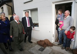 President Michael D Higgins and his wife Sabina meet Patrick O'Brien with his grand children Evie and Jamie Miller as they visit families hit by recent floods, in Enniscorthy, Co Wexford. Pic: Niall Carson/PA Wire