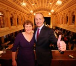 Fianna Fáil leader Micheál Martin with wife Mary  on election night in Cork.
