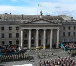 The largest military parade in the history of the state passes the GPO as part of the 1916 Easter Rising centenary commemorations in Dublin. PRESS ASSOCIATION Photo. Picture date: Sunday March 27, 2016. See PA story IRISH 1916. Photo credit should read: Niall Carson/PA Wire