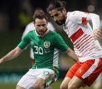 Switzerland's Ricardo Rodriguez (right) and Republic of Ireland debutante Alan Judge battle for the ball during the International Friendly at the Aviva Stadium, Dublin. Pic: Brian Lawless