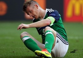 Northern Ireland's Steven Davis reacts to his team's defeat at the hands of Poland at Euro 2016.
