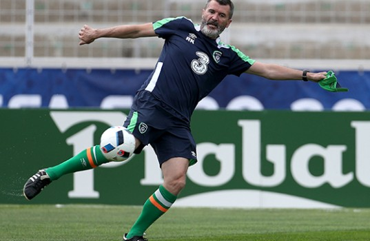 Roy Keane takes part in a Republic of Ireland training session ahead of the Euro 2016 opener against Sweden.